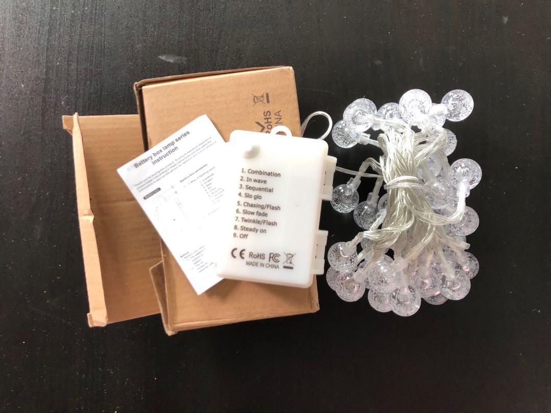 Brand new Crystal globe String Light 40 LED Battery Powered 14.5ft