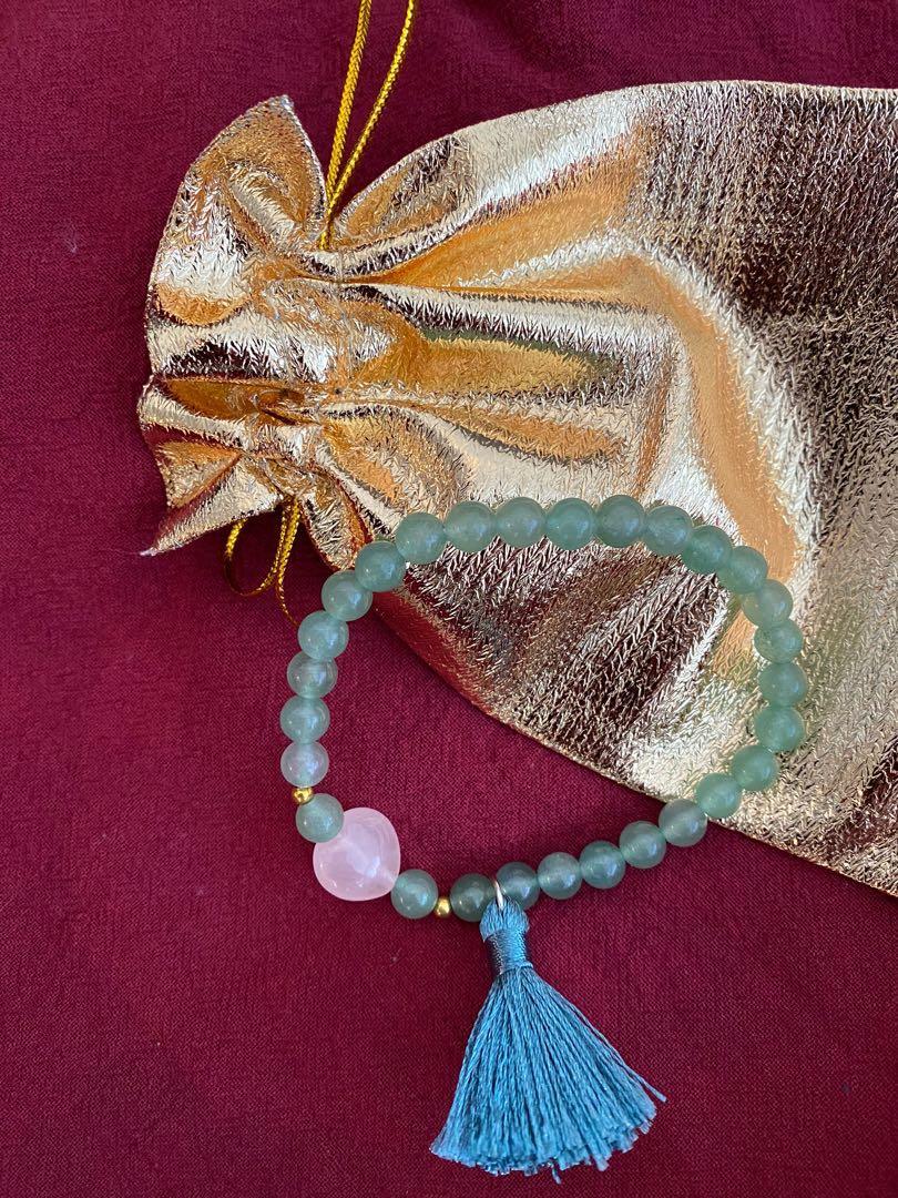 Brand new semi precious stone green aventurine bracelet with tassel