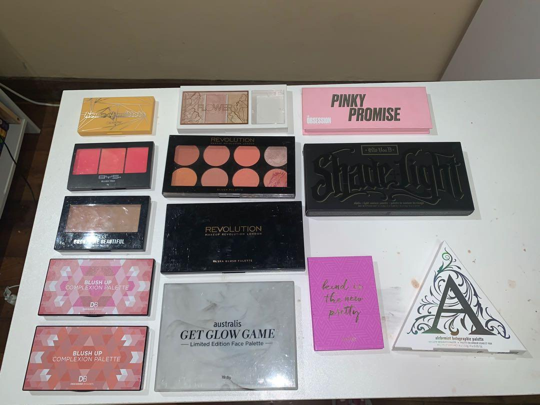 Contour, Blush & Highlighter palettes including Kat Von D, Tarte, Colourpop