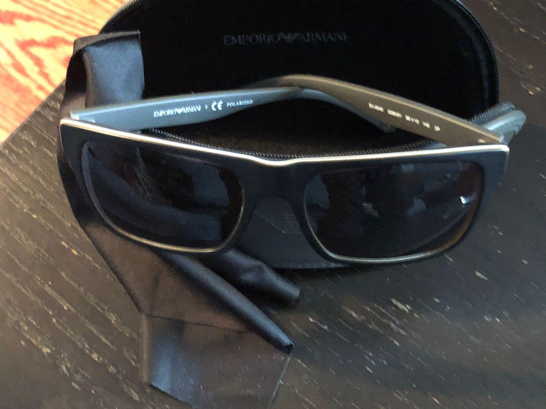 Emporio Armani EA4048 Modern Square Sunglasses in Black on Matte Grey