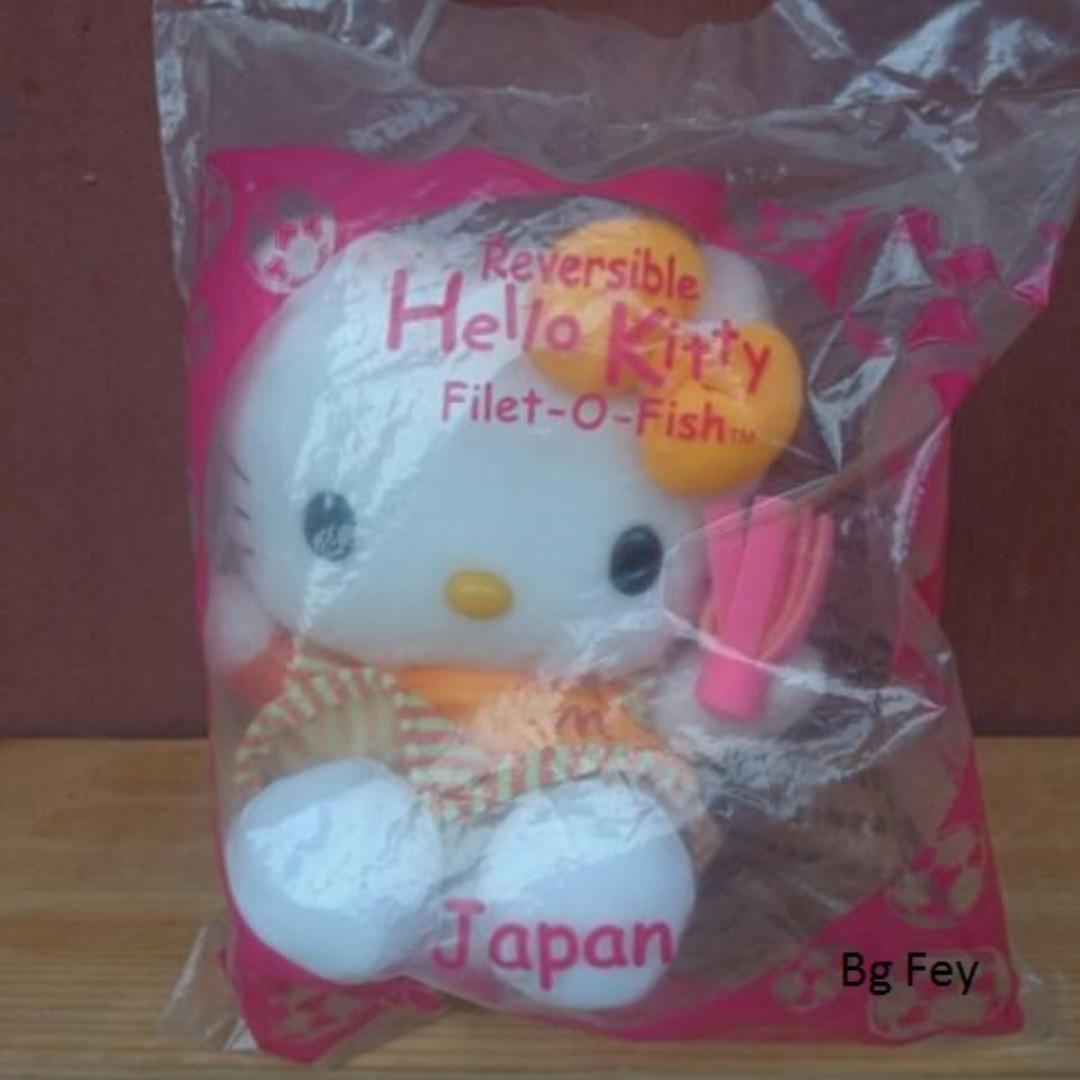 Rare Boneka Hello Kitty Reversible Fillet - O - Fish - Japan - Mc Donald 2002 - Segel