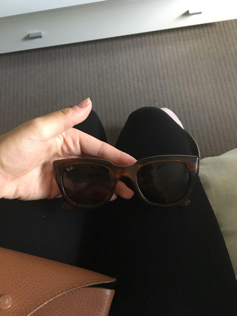 Ray ban cat eye sunglasses! So cute and come with case. Just don't wear them anymore.