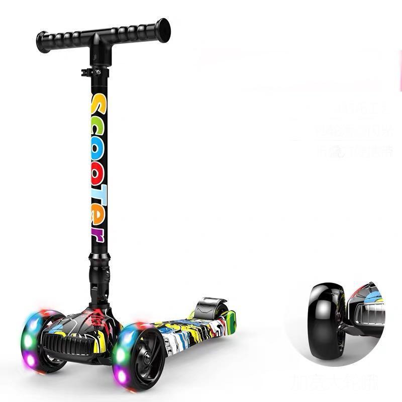 Ready Stock Graffiti Foldable 4 Wheels Lighted Children Kids Kick Skate Scooter