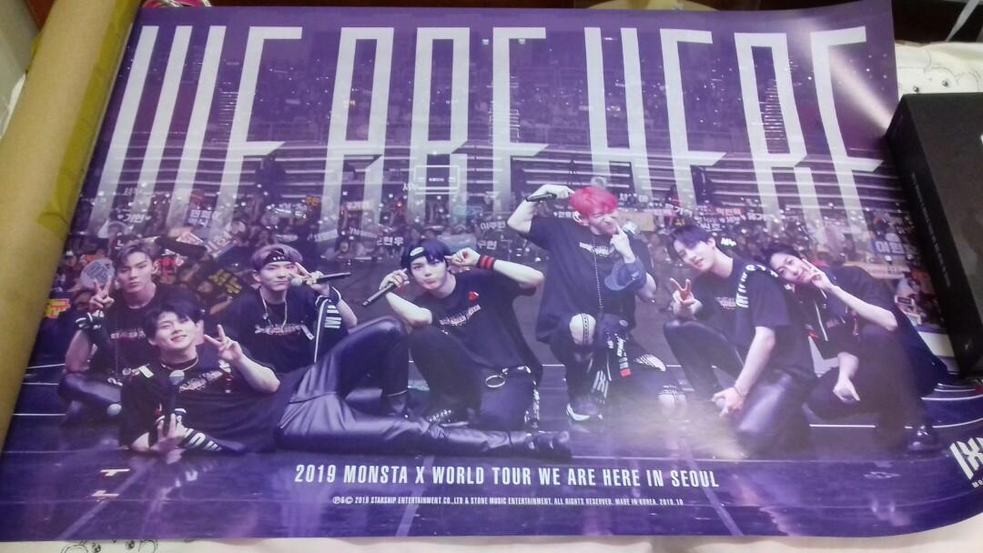 (Ready Stock) 2019 Monsta X World Tour We Are Here In Seoul Poster (Kit Video Version)