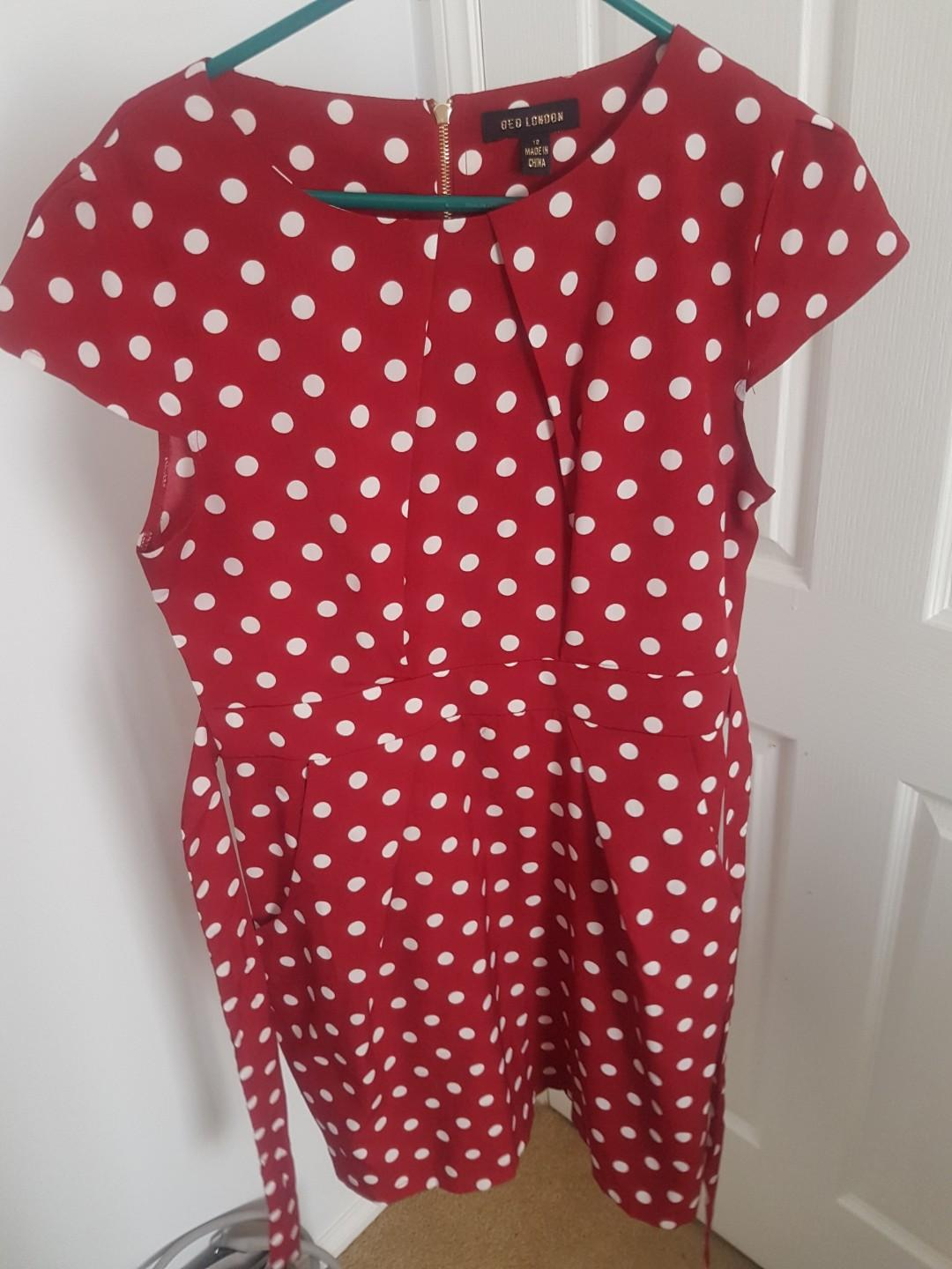 Red and white spotted office tulip dress with pockets