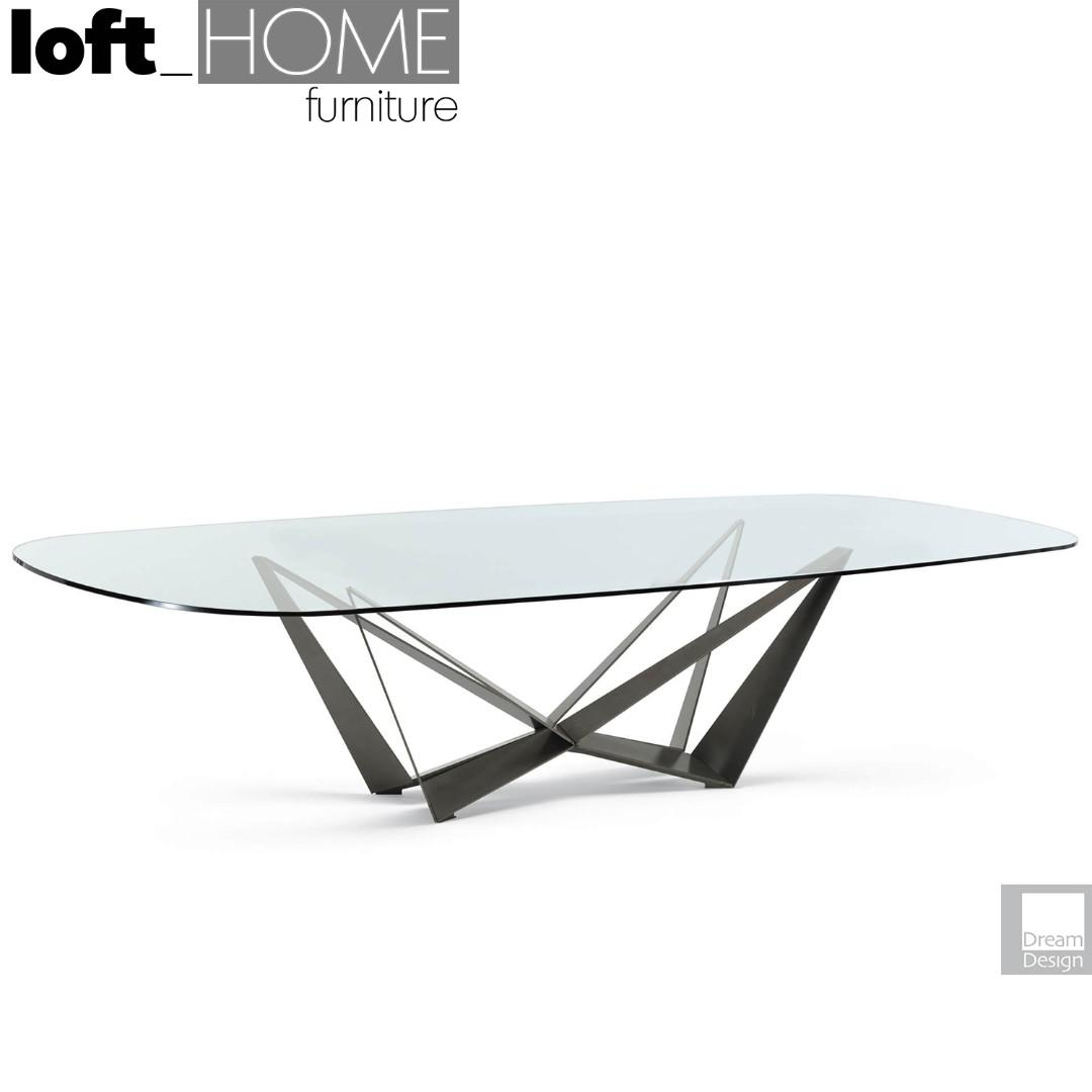 Tempered Glass / Stainless Steel Dining Table – SKORPIO