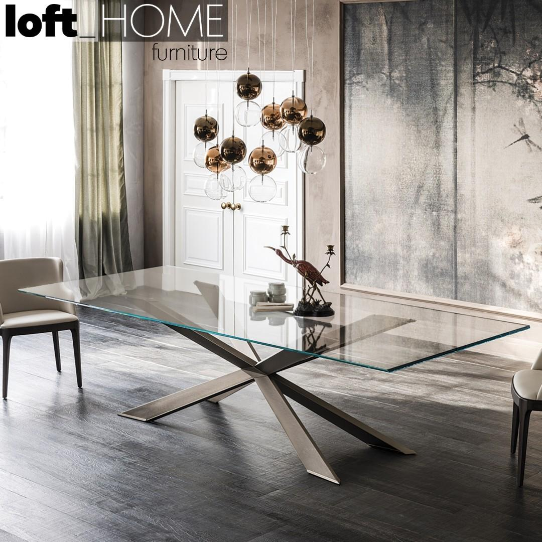 Tempered Glass / Stainless Steel Dining Table – SPYDER