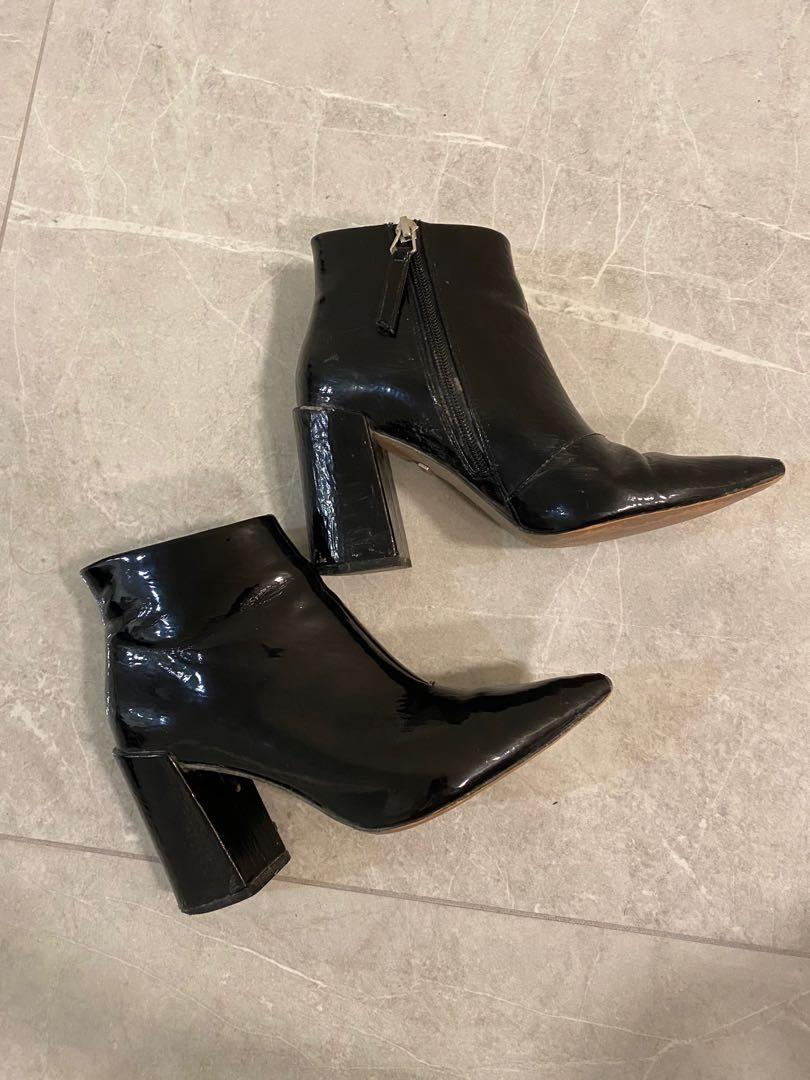 Topshop Patent Pointy Toe Booties (Size EU 37/US 6.5/7)