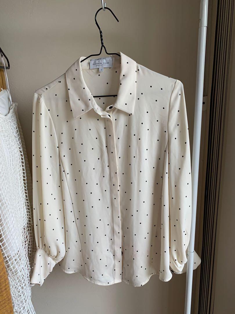 Veronika Maine - Cream with black pocket dots shirt