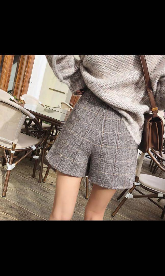 wool winter buttoned skort