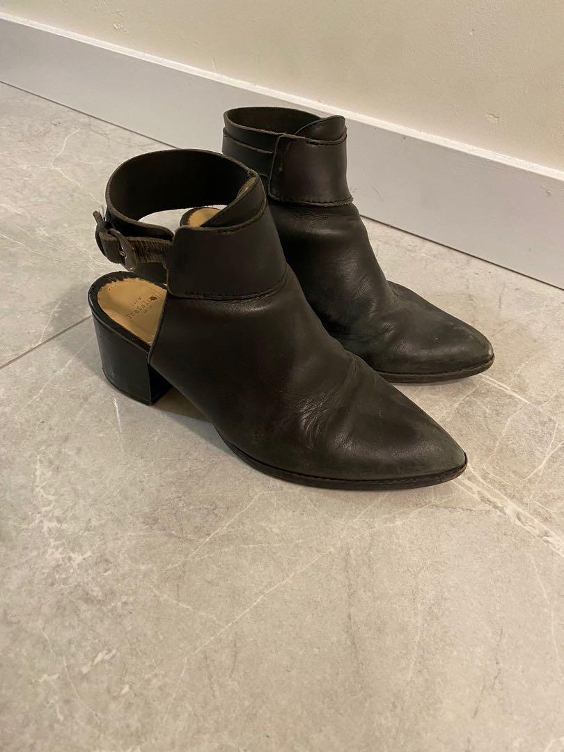 Zara Leather Ankle Strap Mules (Size EU 37, US 6.5)
