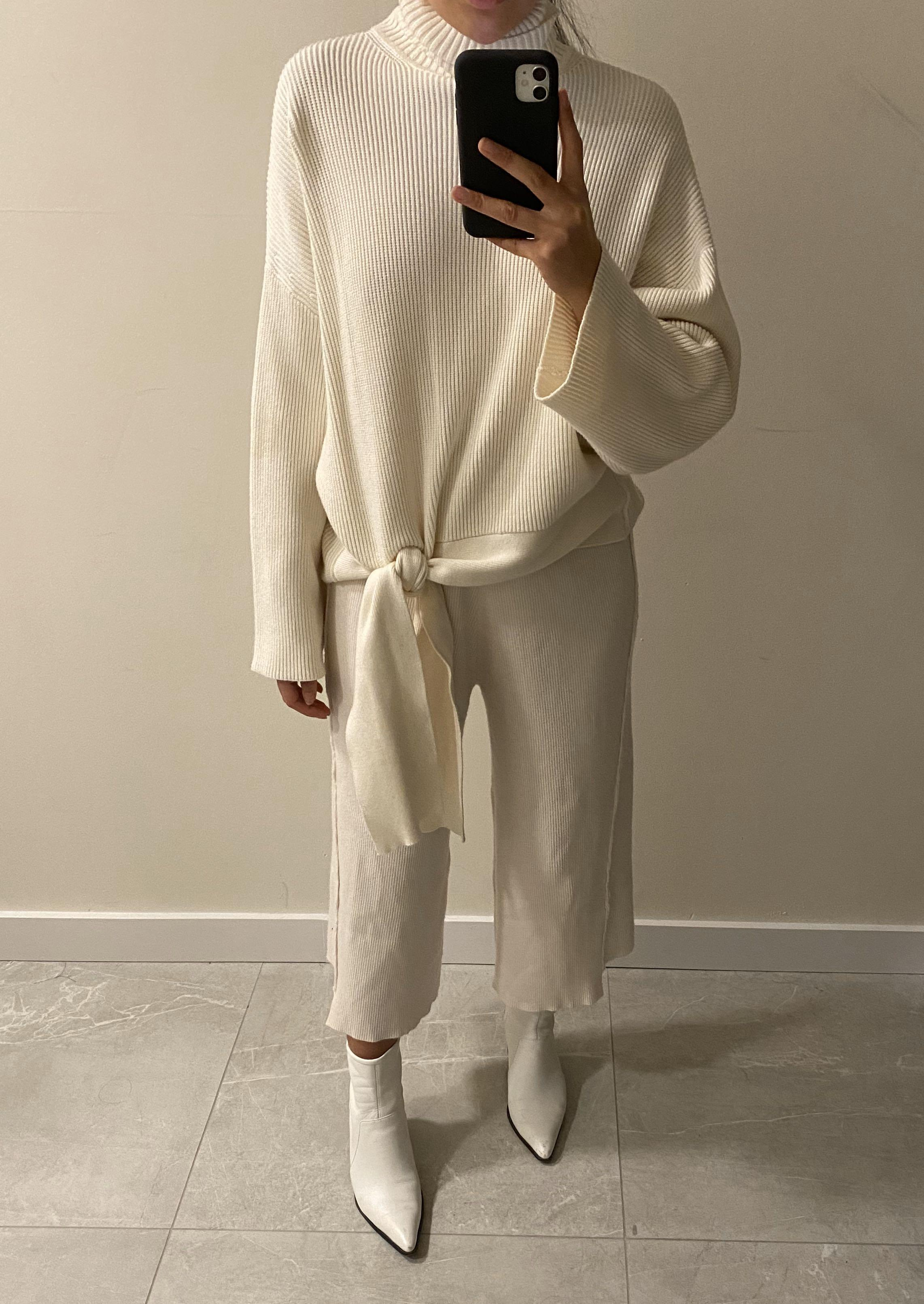 Zara Knot Knit Sweater + FREE matching pants (Size S)