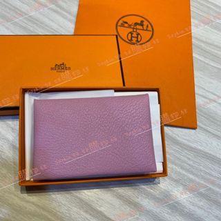 HERMES  愛馬仕 粉色 山羊皮 全皮 信封 釦式 卡片夾 名片夾