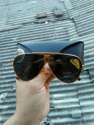 Vintage Sunglasses Aviator 80s brand: Sports/Prince Frame gold besi kuningan dilapisi optyl Vintage authentic Rare/limited edition New old stock/kondisi baru hanya stock lama (Masih menempel stiker barunya) lensa kaca adem di mata