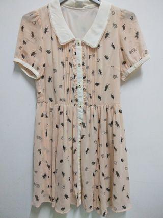 日系a. r.w雪紡洋裝(圖為愛麗絲,9成新)