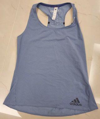 全新Adidas愛迪達條紋挖背背心