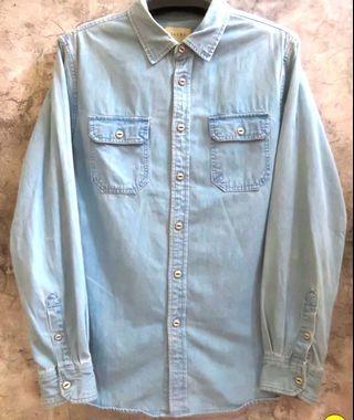 Jachs 牛仔 丹寧 襯衫 厚 硬挺 質感 刷色 水洗 淺藍