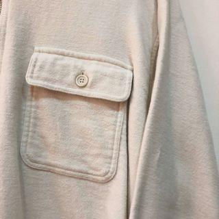 全新 杏色 Urban Research 日系 雙口袋 拉鍊 棉質長袖 40號