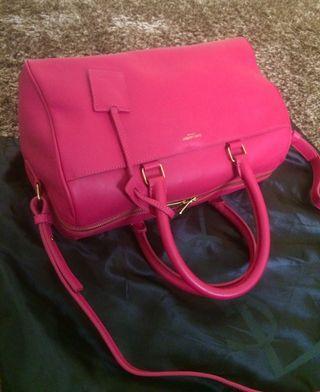 YSL classic Duffle pink fuschia leather bag