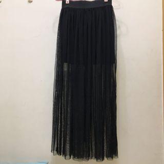 黑色兩件式紗裙  彈性褲頭