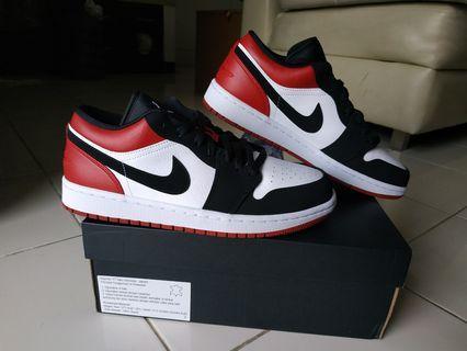 BNIB Air Jordan 1 Low Black Toe Nike Sepatu New