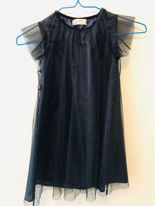 Zara黑色閃亮連身洋裝116cm
