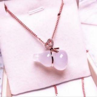 💖新品💖冰種粉玉髓葫蘆項鍊