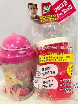 1 Barbie Tupperware (abt 350ml)  and 1 plastic mug