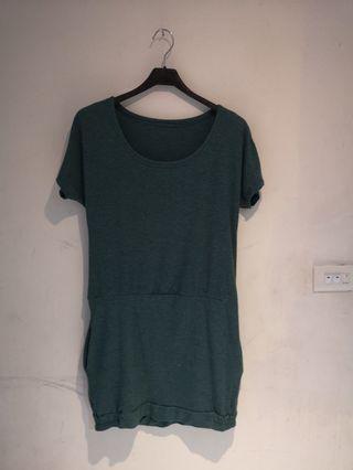 湖水綠小洋裝/長版上衣