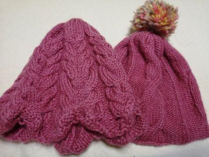 草莓毛球毛線帽(組)