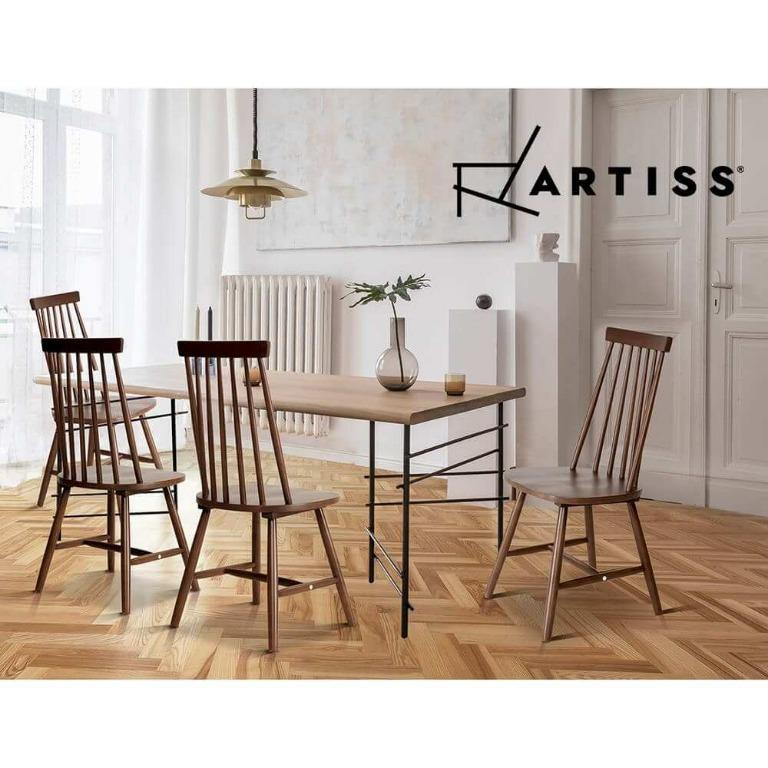 2x Artiss Dining Chairs Kitchen Chair Rubber Wood Retro Cafe Brown Wooden Seat