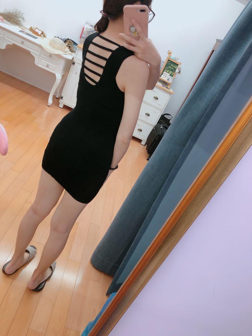 黑色性感連身窄裙