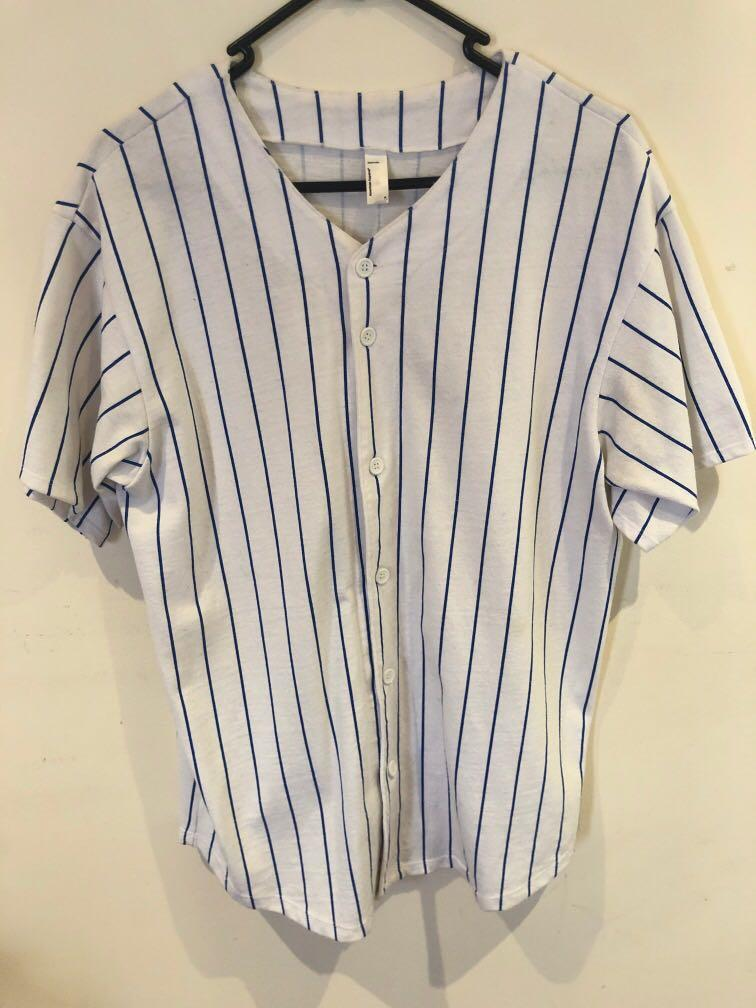 American Apparel  baseball jersey, white with blue stripes