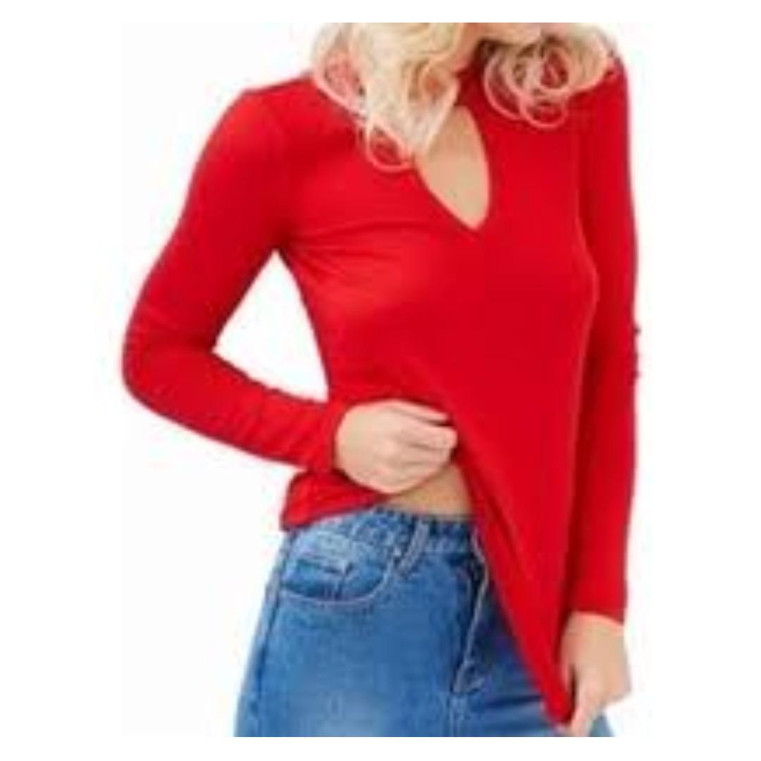 Bardot Red Keyhole Top (BNWT)