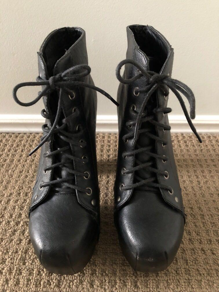Black heeled lace up boots