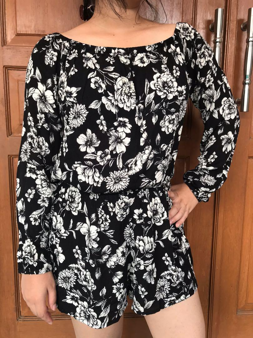 Forever21 Flower Jumpsuit Floral Black and White