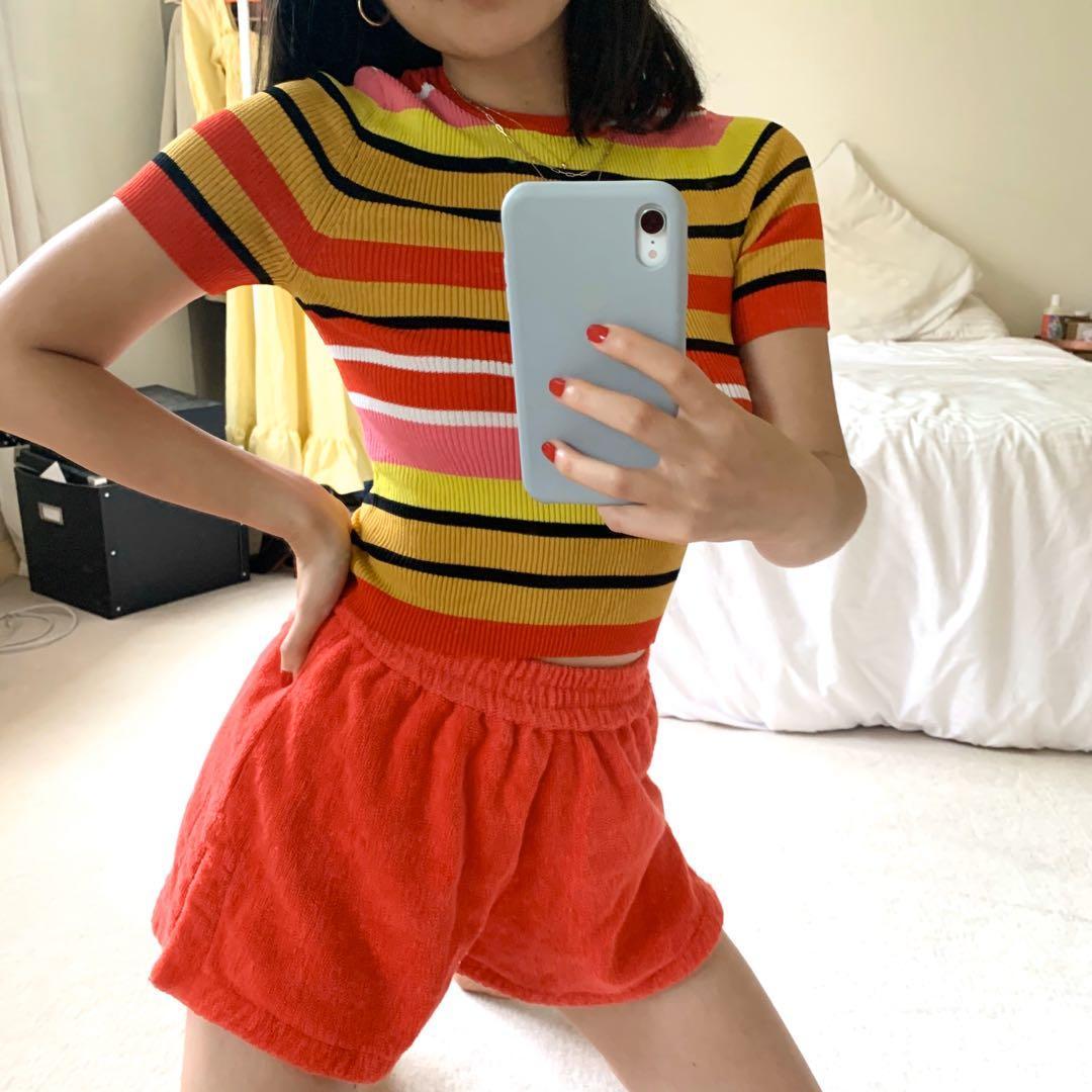 Fun stripy rainbow knit top