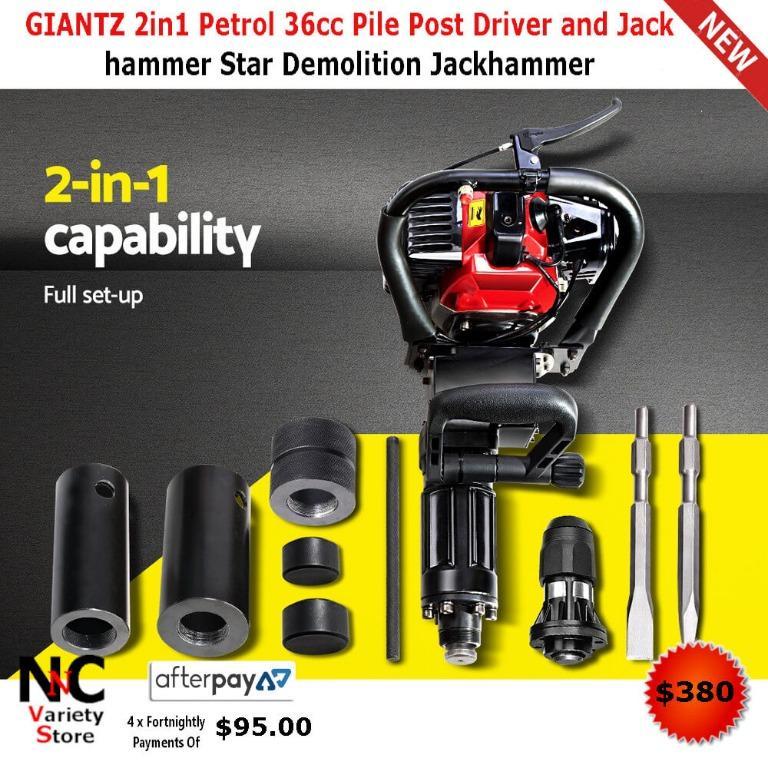 GIANTZ 2in1 Petrol 36cc Pile Post Driver and Jack hammer Star Demolition Jackhammer
