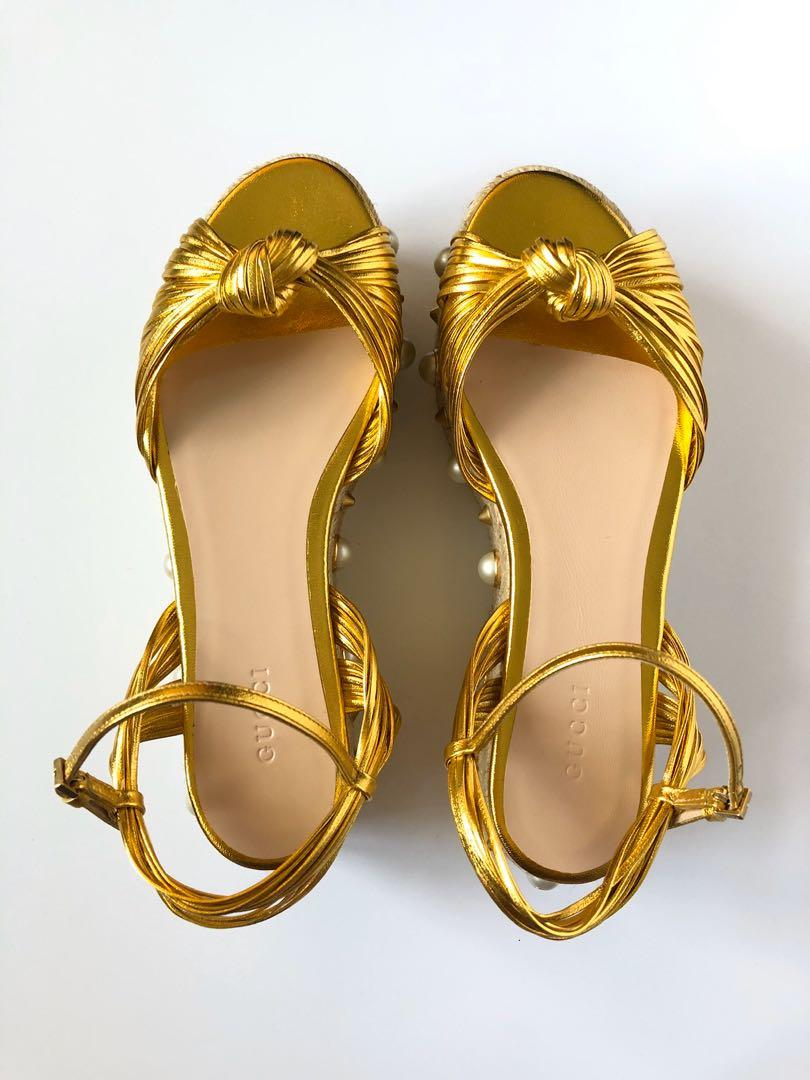 GUCCI GOLD LEATHER ESPADRILLES - BRAND NEW IN BOX! SIZE 37