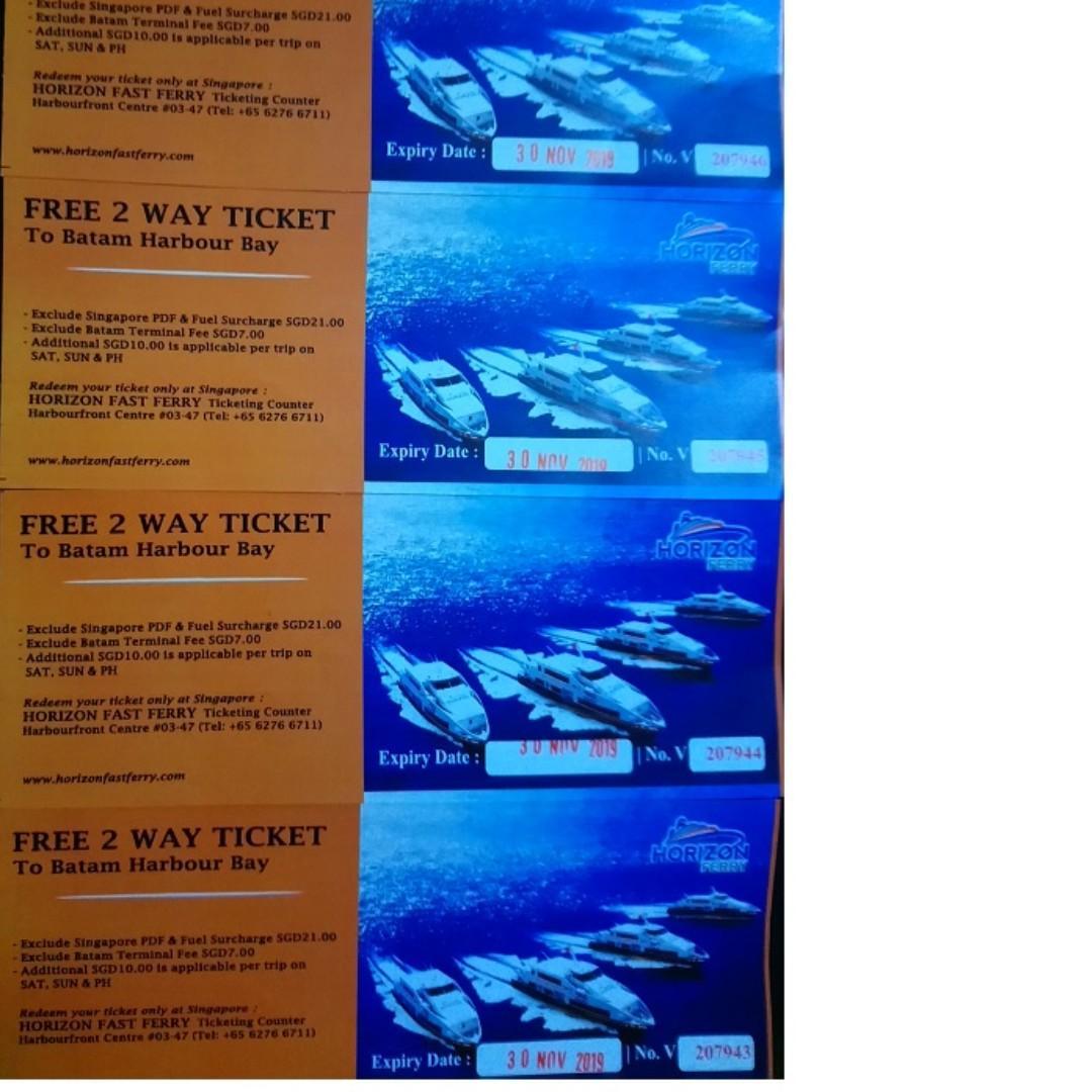 Horizon Fast Ferry 2 way ticket (2 pair) to Batam Harbour Bay
