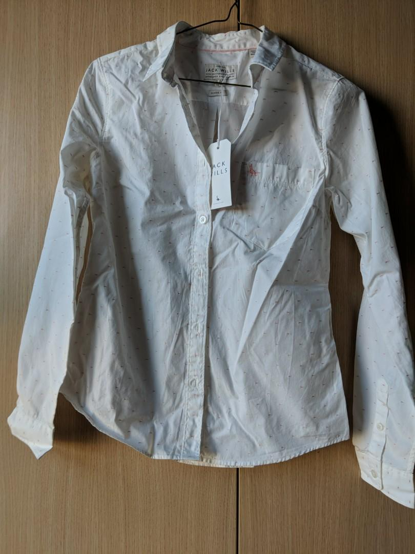 Jack wills white shirt with pink dots size 6 with tags
