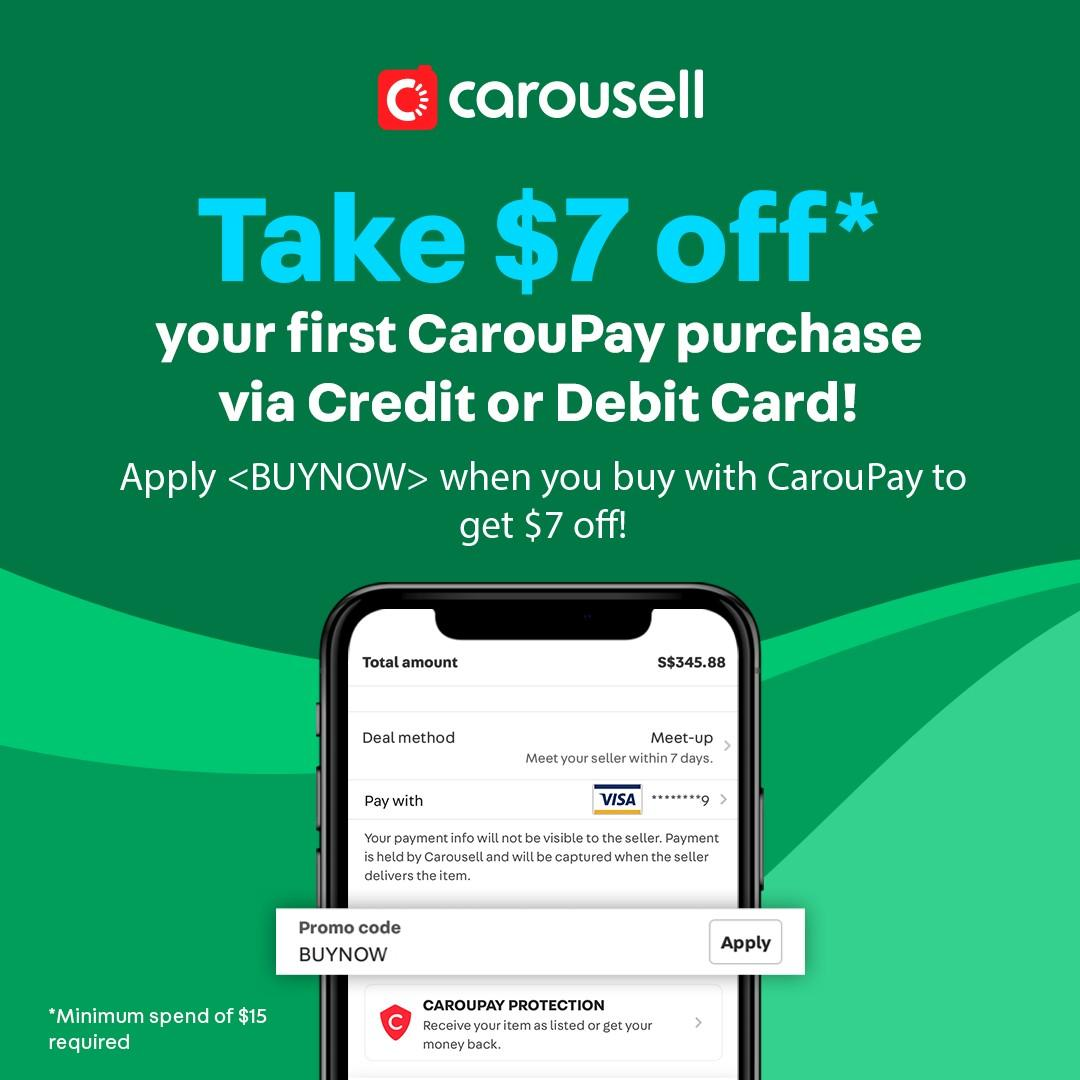 *Limited Time Offer* Enter <BUYNOW> to get $7 off your first CarouPay purchase!
