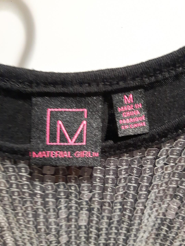 MATERIAL GIRL SILVER SPARKLY SEQUIN MINI DRESS MEDIUM