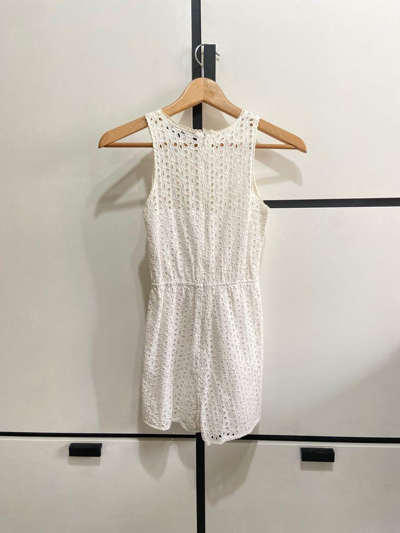 MDS White Eyelet Lace Romper
