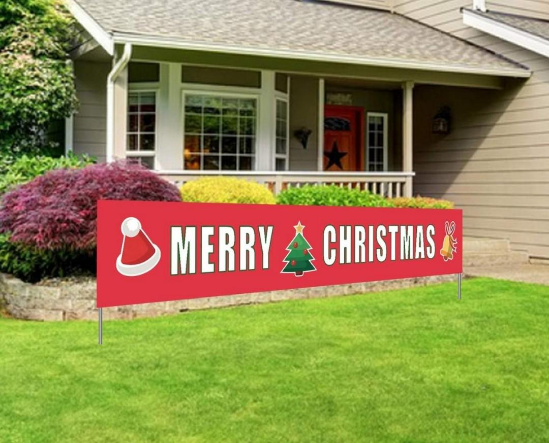 Merry Christmas Banner | Large Xmas Sign | Huge Xmas House Home Outdoor Party Decoration