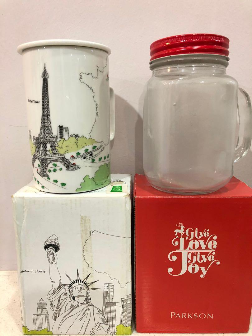 One glass mug + one ceramic mug