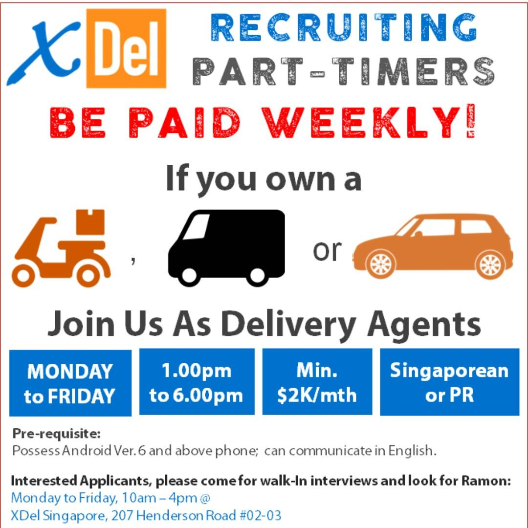 Part Time Delivery Agents (Own Vehicles)