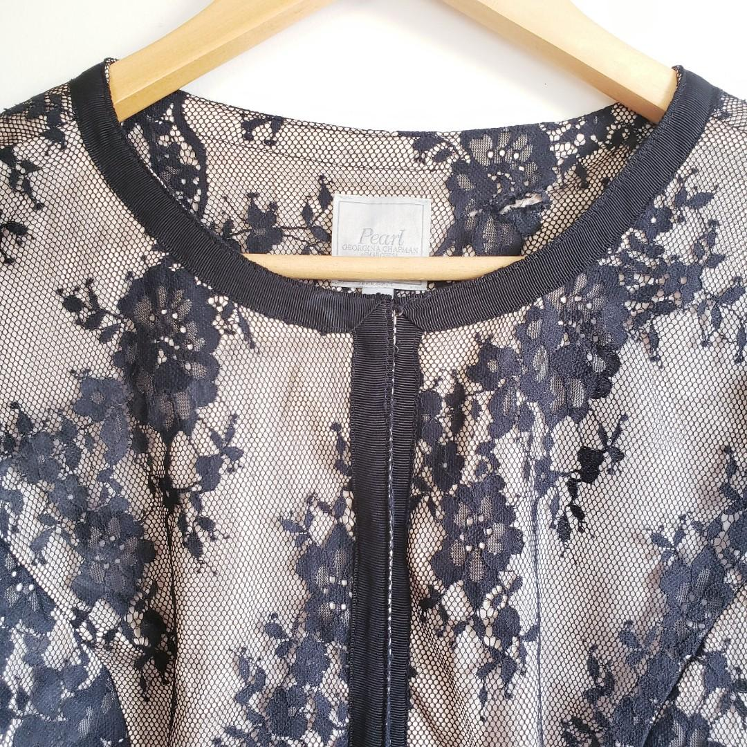 Pearl by Georgina Chapman of Marquesa lace scallop jacket size 6