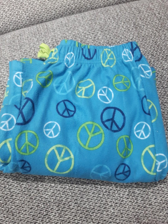 Pijama Pants Kids Fleece type/peace logo sky blue size 14/16 kids (xs)