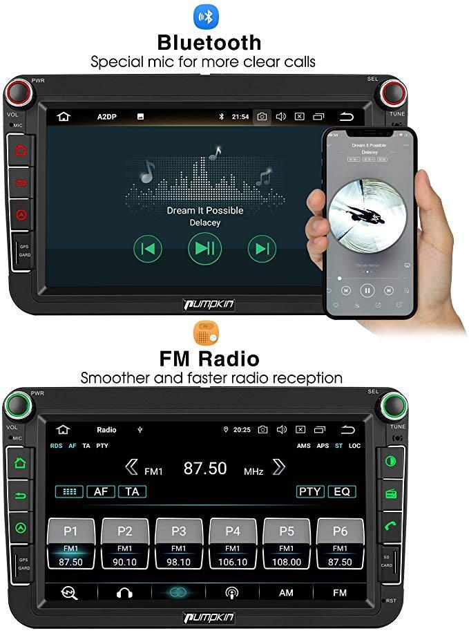 """PUMPKIN 8"""" Android 9.0 Car Stereo Head Unit for VW Built-in DAB+ Bluetooth Support GPS Navigation, Android Auto, WIFI USB SD Touch Screen Mirror Link Backup Camera"""